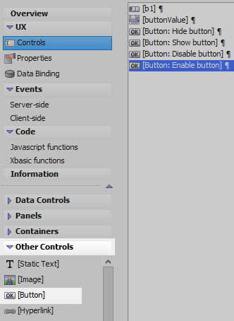 Dynamically Hide or Show and Enable or Disable Buttons in a