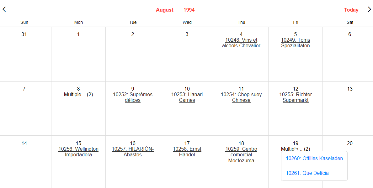 Displaying Events on a Calendar Control from an External Database