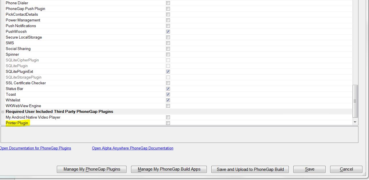 User Included PhoneGap Plugins