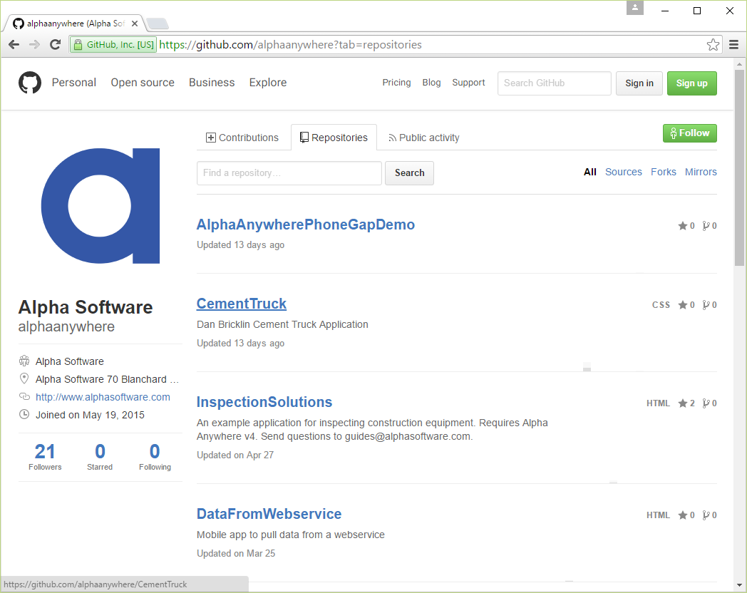 github project repositories lists all sample applications available for