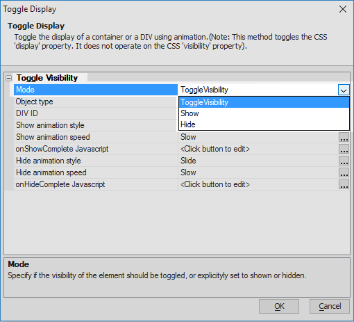 Toggle display of a container or DIV with animation