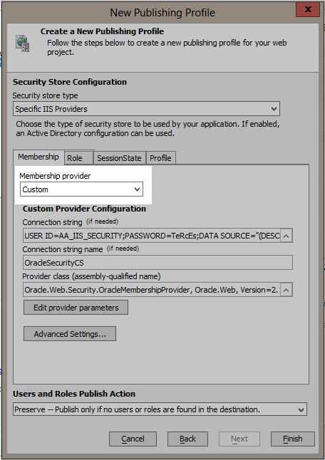 Install a schema for ASP NET providers